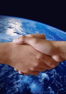 universe and shaking hands